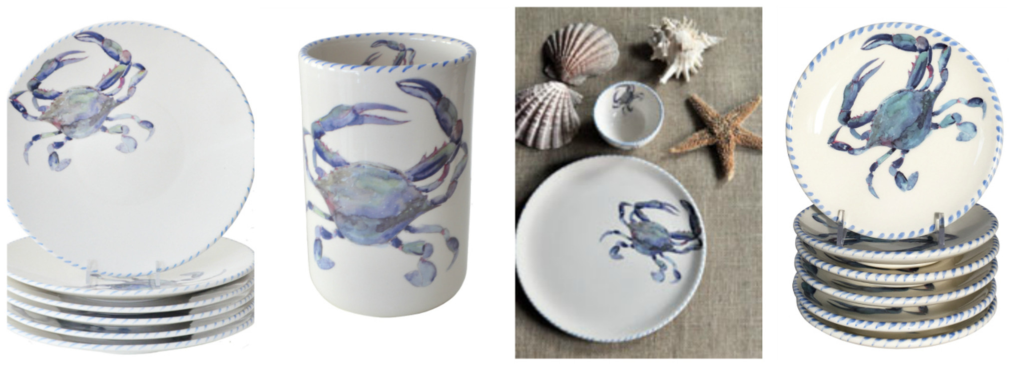 Our new Blue Crab Dinnerware collection is created with a large blue crab image artfully depicted in blues greens and a small hint of red on his (or her?) ... & Blue Crab Italian Dinnerware