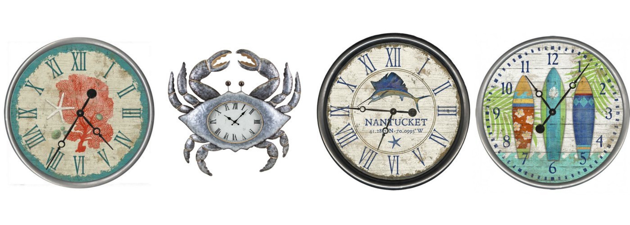 Coastal and Nautical Themed Wall Clocks