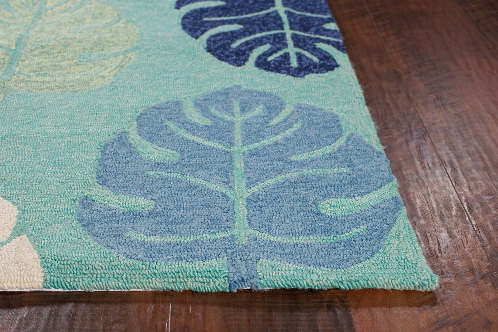 Turquoise And Blue Palms Indoor Outdoor Area Rug