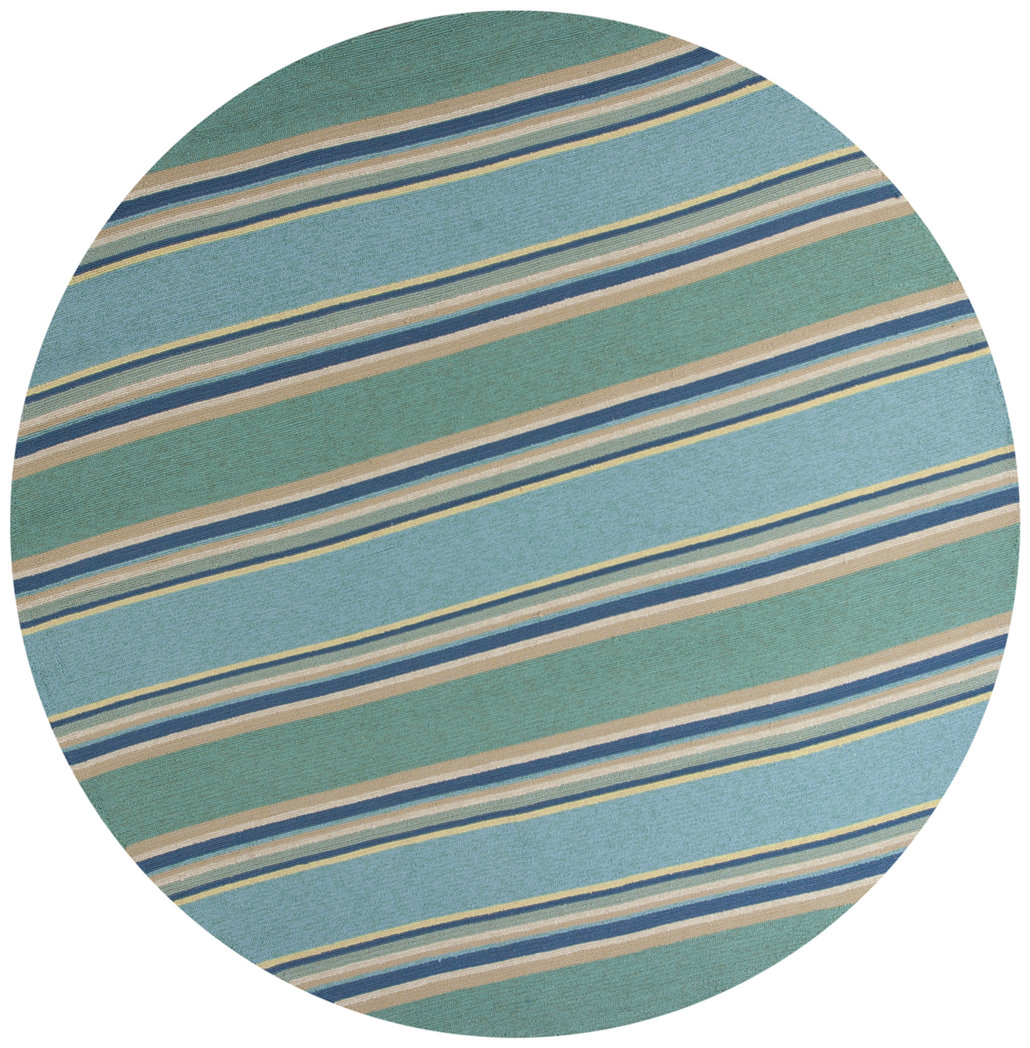 Homefires Indoor Outdoor Hooked Turquoise White Indoor: Harbor Turquoise Stripes Area Rug