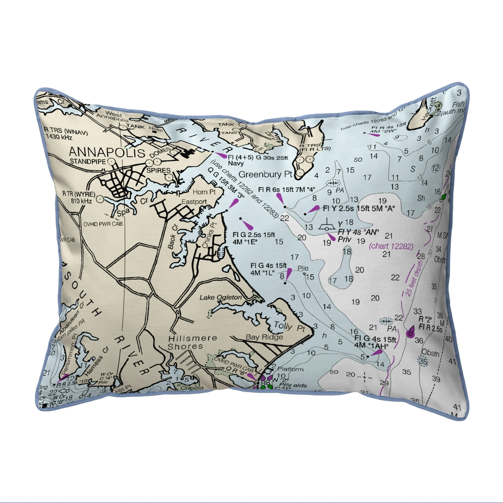 Annapolis, MD Nautical Map 20 x 24 Pillow