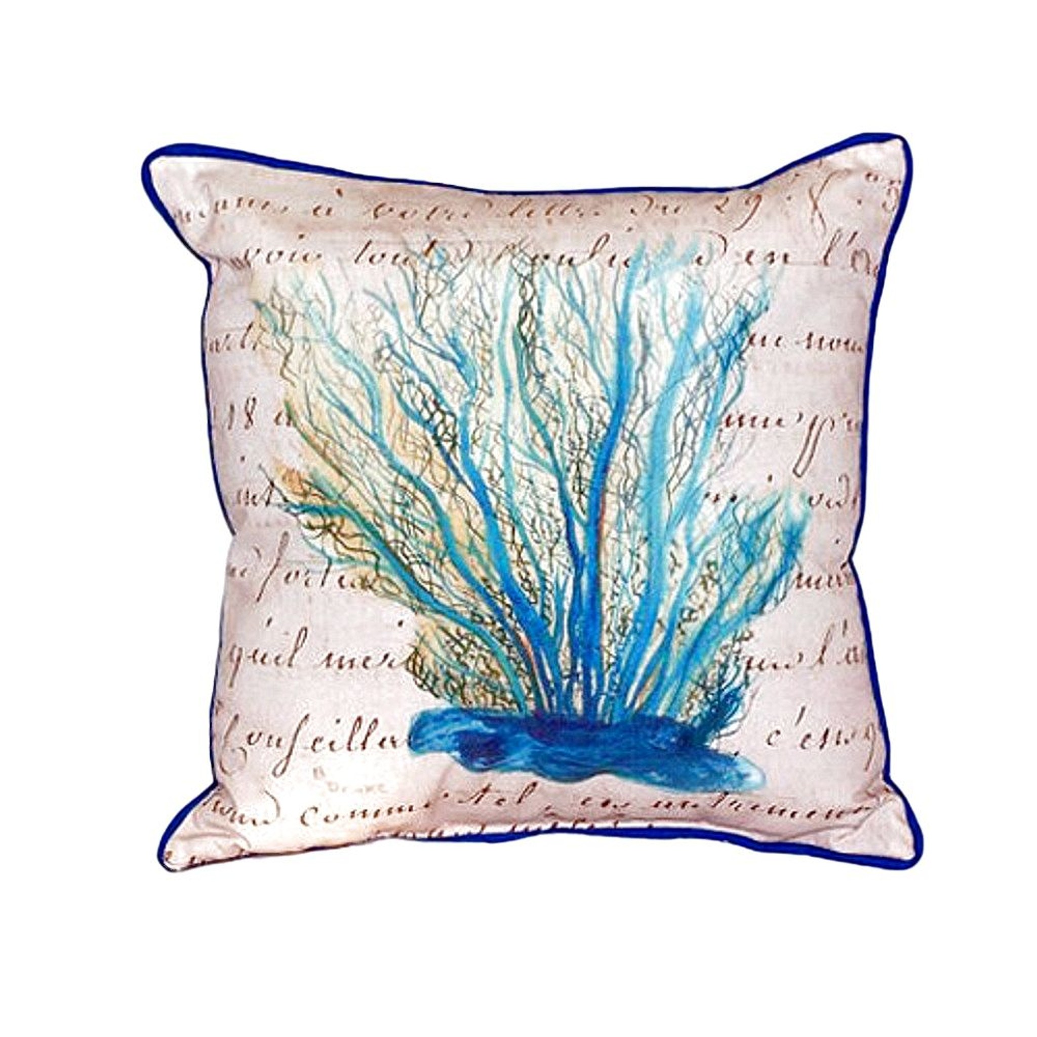 Blue Coral Throw Pillow : Blue Coral Script Throw Pillow