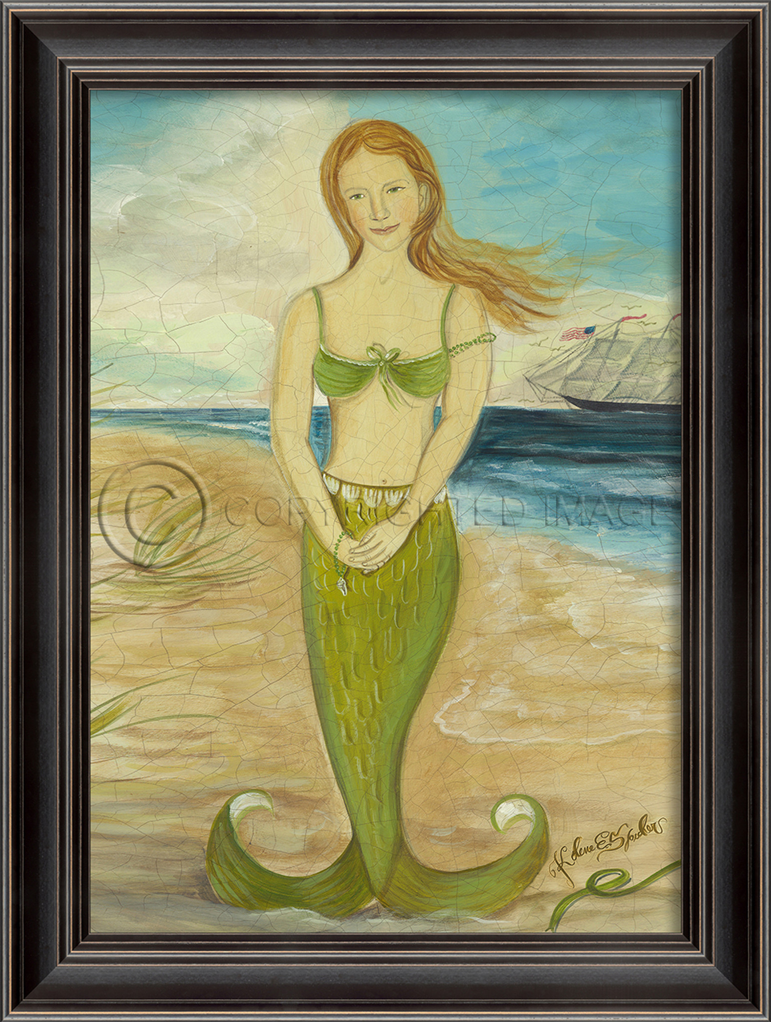 Red-Headed Mermaid in Green Framed Small Wall Art