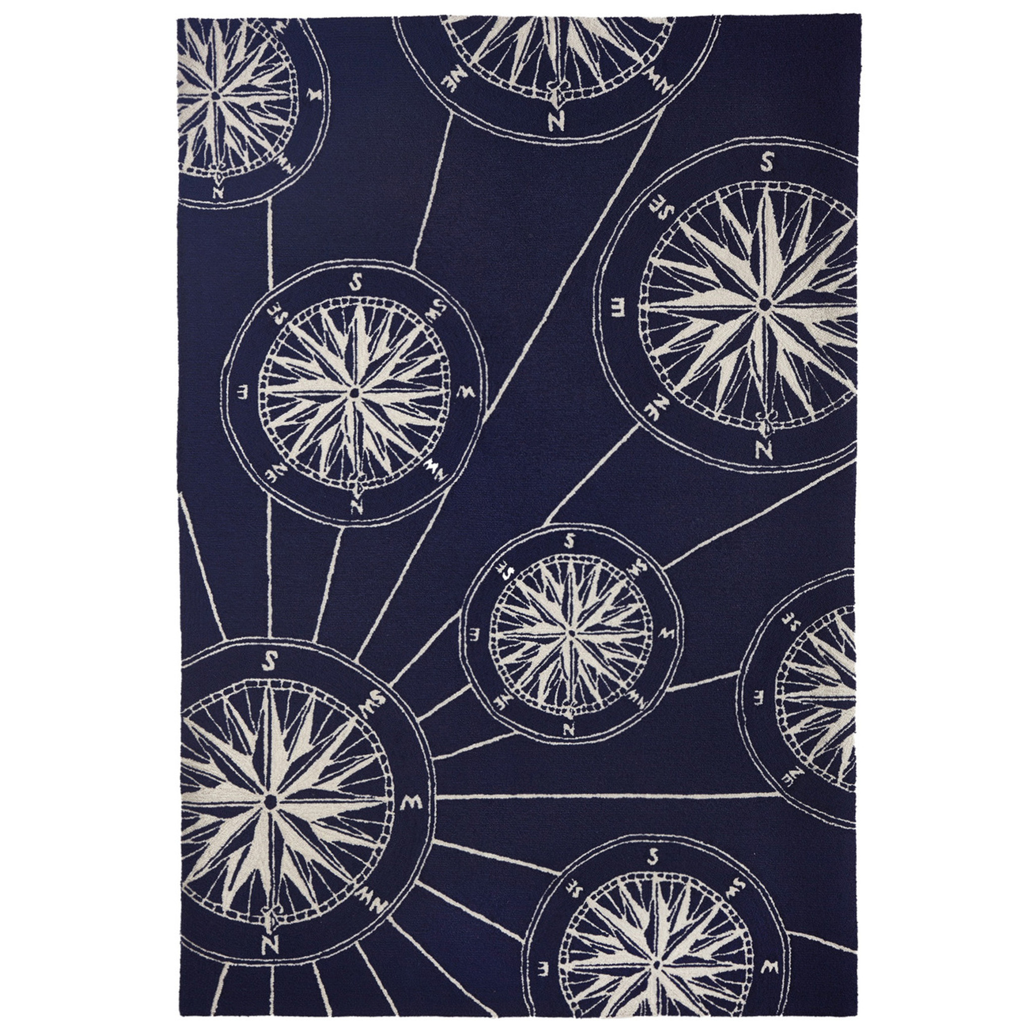 Compass Rose Navy Blue And White Nautical Area Rug