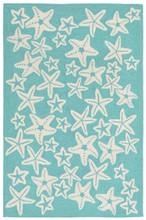 Starfish Aqua Hooked Area Rug