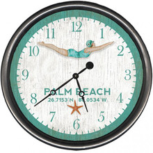 Dive Girl Coastal Clock