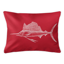 Red Sailfish Lumbar Coastal Pillow