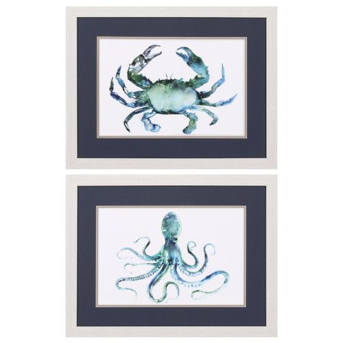 Blue Octopus and Crab Prints - Set of 2