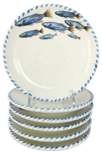 Blue School of Fish Canape\u0027 Plates - Set ...  sc 1 st  Caron\u0027s Beach House & Lake Home Dinnerware and Glassware