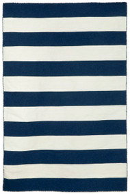 Navy Blue Woven Striped  Rug