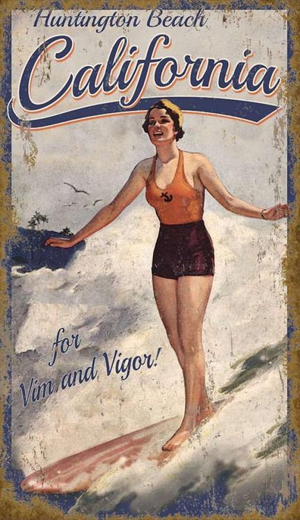 Vintage Surfer Girl Custom Beach Sign