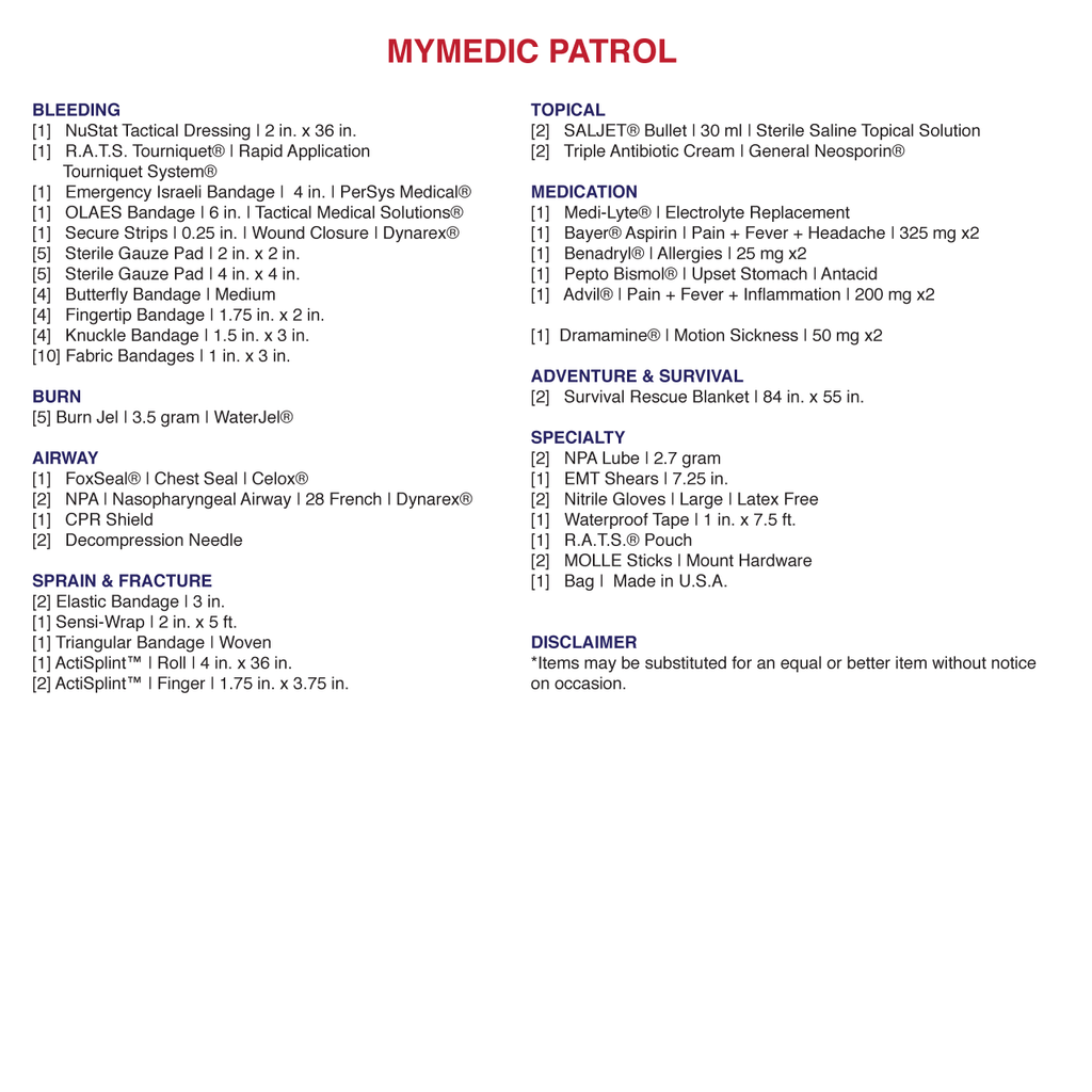 MyMedic-The Patrol 2 person Trauma Kit contents