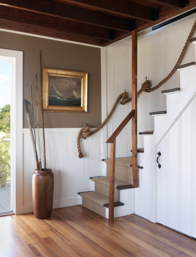 Stair Railing with Manilla Rope