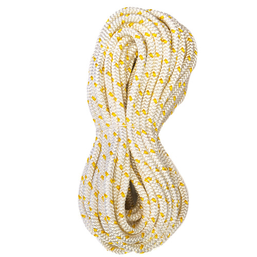 Yale XTC-12 twelve strand hollow core rope - white with yellow tracer.