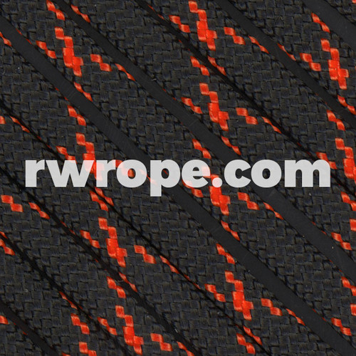 Paracord 550 in Black W/ Neon Orange X