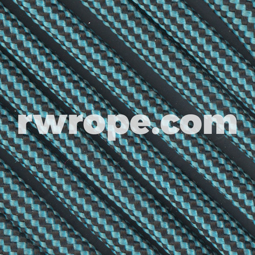 Paracord 550 in Neon Turquoise And Black Stripe