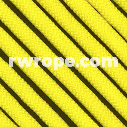650 Flat Coreless Paracord in neon yellow.