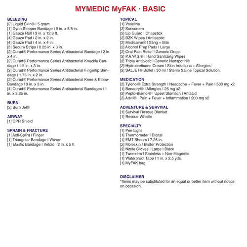 My Medic The Solo basic contents