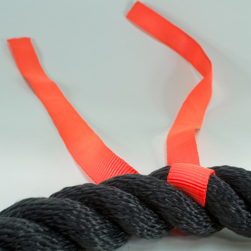Tug or war rope with middle indicator of orange nylon webbing.