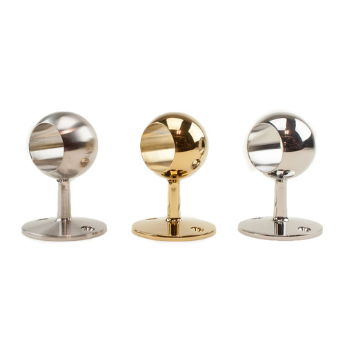 Rope handrail stanchion bracket in chrome, brass, or stainless steel.