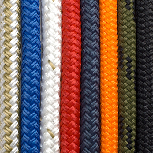Double braid dog leash available in 50/50 gold/white, royal, white with gold tracer, red, navy, neon orange, camo, or black.