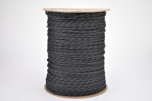 Paracord 550 Closeout 1000 FT. Spool- Black w/ Reflective Fleck
