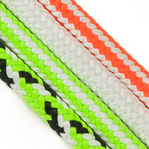 Braided Safety Blue Arborist rope in white, HiVee orange, Ultravee green, and Tvee green and black