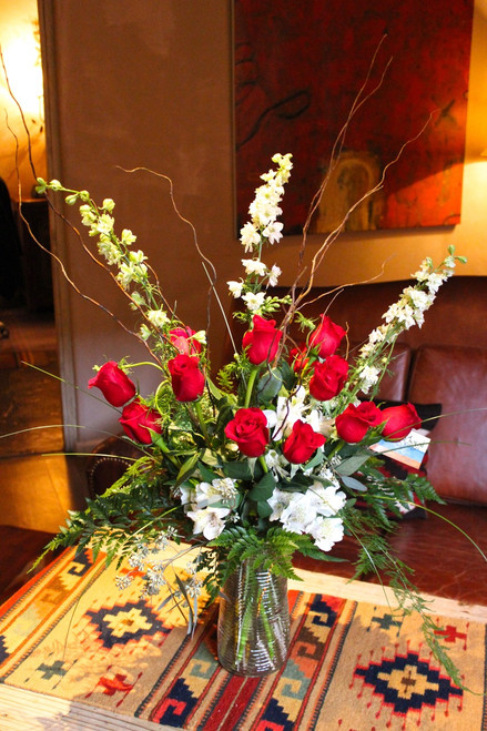 One Dozen Premium Long Stem Red Roses In A Cylinder Glass Vase 3