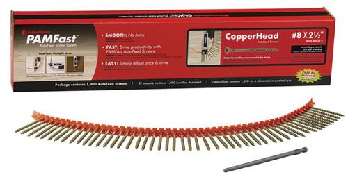 "PAMFast CopperHead AutoFeed Screws #8 x 2-1/2"" (1000)"