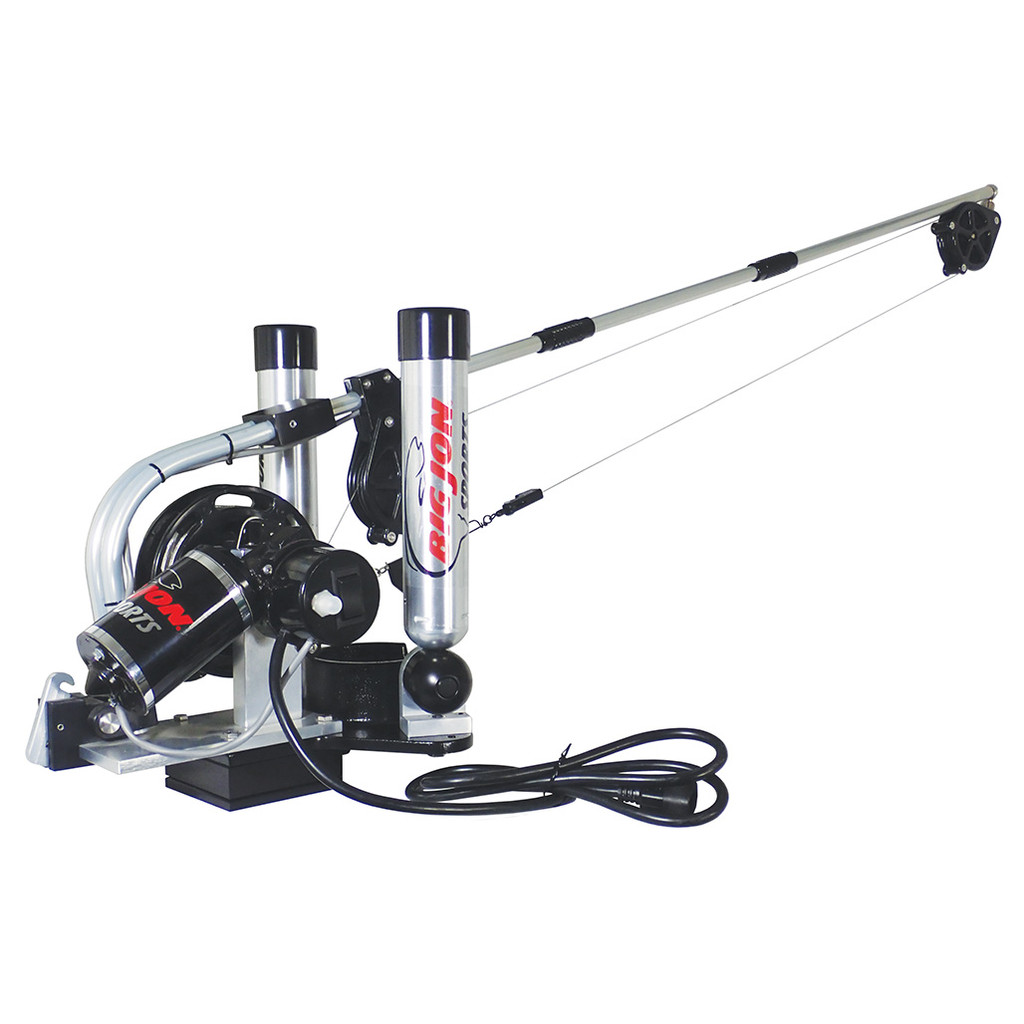 """Big Jon's """"Pro Tournament"""" electric downrigger is the step up from the """"Captain's Pak"""" that many tournament fishermen have asked for. The new sealed, """"High-Torque"""" motor will retrieve a 12 lb. cannonball at 140 feet a minute."""