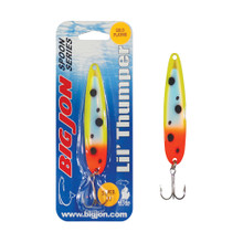 "The Lil' Thumper is a 3-1/2 inch by 13/16 inch trolling spoon that is a proven tournament winner! The ""Clutch's Touch"" is a Gold and Green Froggy color pattern on Gold Plating."