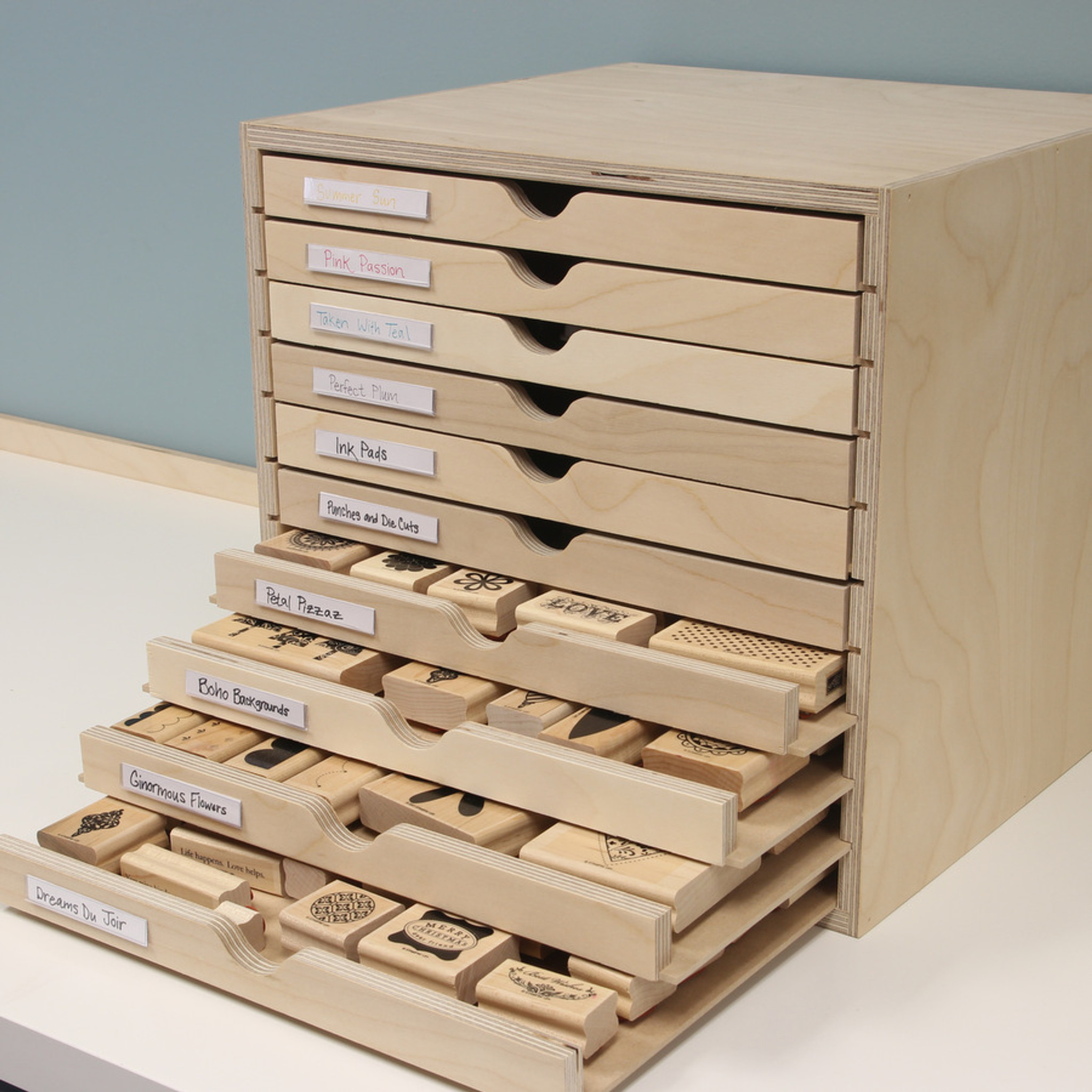 Delicieux Organize Wood Mount Stamps In Craft Room Drawer Cabinet