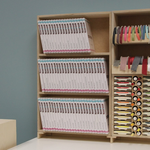 Stamp case shelf storage