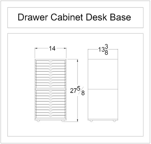 Craft cabinet base with drawers for IKEA tabletops