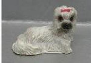 Dollhouse Miniature - RA0181 - LHASA APSO - WHITE - LYING DOWN