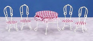 CLA03750 - Metal Table & 4 Chairs - White