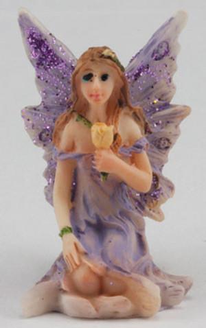 Fairy Garden - DDL1236 - Small Fairy Sitting - Purple Dress