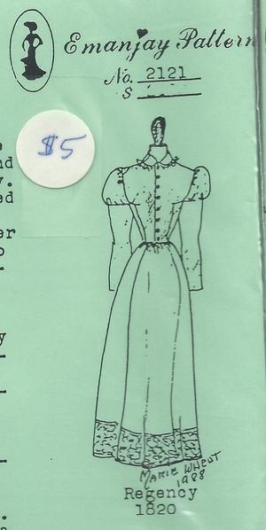 2121- 1820 Regency Dress- Emanjay Sewing Pattern