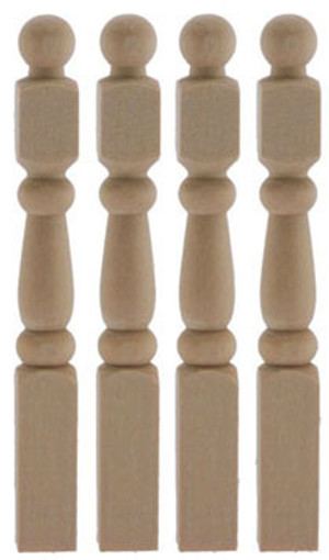 Dollhouse Miniature - CLA77012 - Traditional Newel Post - Pkg/4