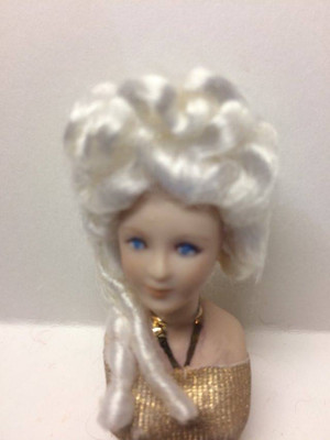 Dollhouse Miniature - Porcelain Doll Wig - Elizabeth White Wig - 1:12 Scale