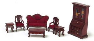 "1/2"" Scale - T0233 - Living Room Set - Mahogany - 7 pc"