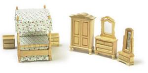 """1/2"""" Scale - T0235 - Canopy Bedroom Set - Oak - 7 pc"""
