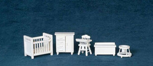 "1/2"" Scale - T0226 - Baby Room Set - White - 5 pc"