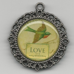 Dollhouse Miniature - 72 - Picture - Round Frame - Bird & Love