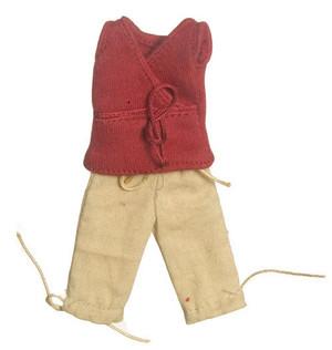 Dollhouse Miniature - LADY'S RED V NECK TOP & TAN CAPRI PANTS - G7556