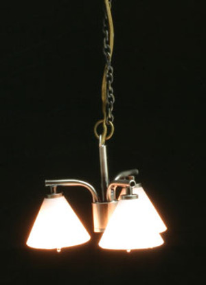 Dollhouse Miniature - MH45152 - Modern Chandelier with 3 Down Shade - Pewter - 12 v