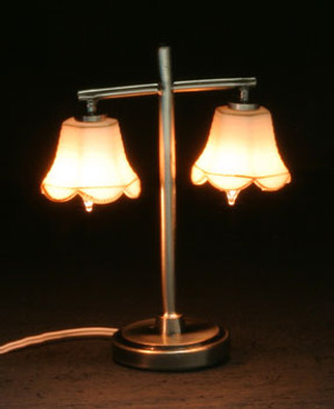 Dollhouse Miniature - MH45158 - Modern Table lamp with 2 Tulip Shades - Pewter - 12 v
