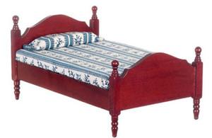 Dollhouse Miniature -T3276 - Single Bed - Mahogany
