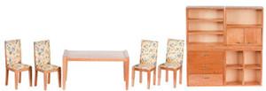 Dollhouse Miniature - T0140 - Modern Dining Room Set - Oak- Set/9