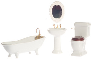 Dollhouse Miniature - T5226 - Porcelain Bathroom Set/4 - White